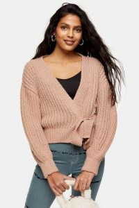 Topshop Rose Pink Tie Wrap Knitted Cardigan