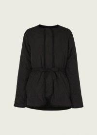 L.K. BENNETT ROWAN BLACK QUILTED JACKET / drawstring waist jackets