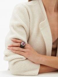 ROSA DE LA CRUZ Ruby, 18kt gold & ebony-wood ring / chunky red gemstone rings
