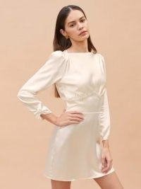 REFORMATION Rudi Dress ~ mini length wedding dresses ~ beautiful alternatives to bridal gowns ~ ivory silk