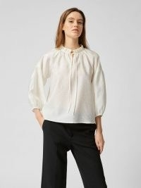 SELECTED FEMME RUFFLE NECK VOLUME TOP