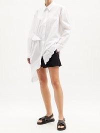 SIMONE ROCHA Ruffled asymmetric cotton-poplin shirt ~ embroidered scalloped hem shirts