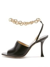 JIMMY CHOO Sae 90 chain-strap leather sandals / chunky chain straps / stiletto heels