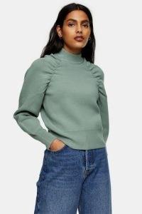 TOPSHOP Sage Gathered Sleeve Knitted Sweatshirt ~ green ruched sweatshirts