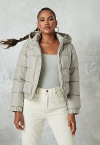 MISSGUIDED sage hooded puffer jacket ~ light green padded jackets