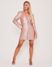 Saint Genies sequin double breasted blazer dress in rose gold ~ sequinned jacket dresses ~ metallic pink party fashion