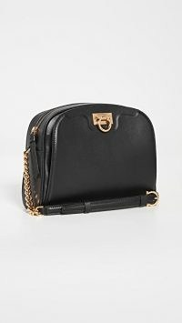 Salvatore Ferragamo Trifolio Black-Leather Camera Bag / crossbody bags