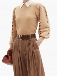 CHLOÉ Scalloped-edge cutout wool-blend sweater | cut out sweaters | beige balloon sleeve jumper