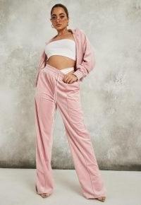 sean john x missguided pink velour wide leg trousers