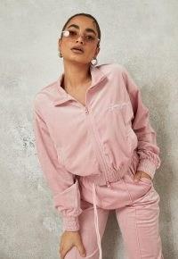 sean john x missguided pink velour zip front crop jacket