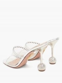 AQUAZZURA Secrets 85 crystal-embellished PVC mules / disco ball heels