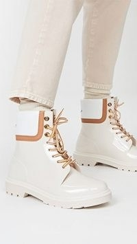 See by Chloe Florrie Lace Up Rain Boots / shiny boots