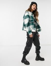 Selected Femme shacket in green check ~ shackets
