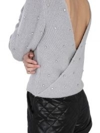 SELF-PORTRAIT TWIST SWEATER WITH JEWEL APPLICATION | embellished open back sweaters