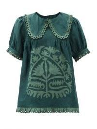 VITA KIN Shalimar floral-appliqué linen blouse / green folk blouses / boho top