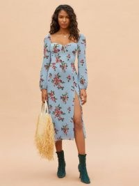 Reformation Shelby Dress in Giulia | floral print thigh high split dresses | slit hem | fitted bodice