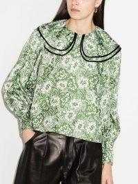 Shrimps floral print silk blouse / green large collar blouses
