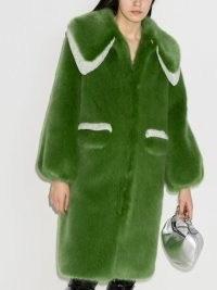 Shrimps Lorca faux-fur midi coat / green winter coats
