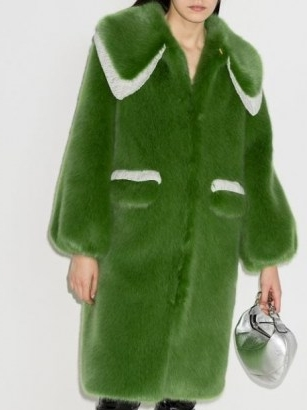Shrimps Lorca faux-fur midi coat / green winter coats