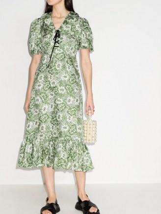Shrimps Oakley floral-print silk midi dress / green frill hem dresses - flipped
