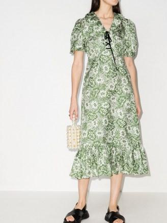 Shrimps Oakley floral-print silk midi dress / green frill hem dresses