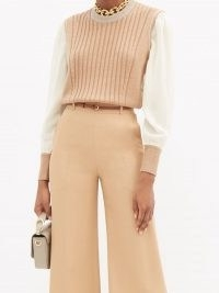 CHLOÉ Silk-sleeve ribbed wool sweater / camel colour block sweaters
