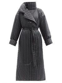 NORMA KAMALI Sleeping Bag striped padded coat – black pinstripe wrap coats