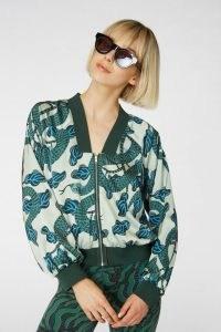 Camilla Perkins X gorman SLINKY BOMBER JACKET / green snake print jackets