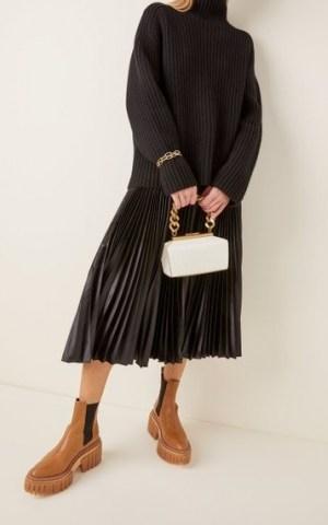 Stella McCartney Small Structured Croc-Effect Vegan Leather Shoulder Bag | chunky chain handbags - flipped