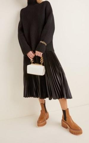 Stella McCartney Small Structured Croc-Effect Vegan Leather Shoulder Bag | chunky chain handbags