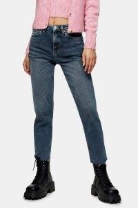 Topshop Smoke Blue Raw Hem Straight Jeans | frayed hems | denim fashion