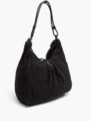 ISABEL MARANT Soyat leather-trim suede shoulder bag ~ slouchy black bags - flipped