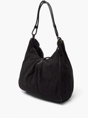 ISABEL MARANT Soyat leather-trim suede shoulder bag ~ slouchy black bags