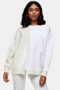 Topshop Spliced Jersey Knitted Jumper Neutral