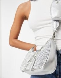 Steve Madden Bvamp cross body bag with chain strap in silver diamante | metallic bags