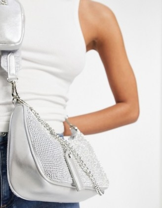 Steve Madden Bvamp cross body bag with chain strap in silver diamante | metallic bags - flipped