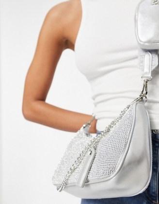 Steve Madden Bvamp cross body bag with chain strap in silver diamante | metallic bags