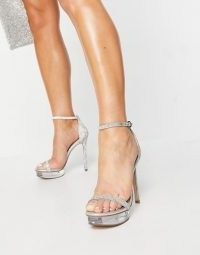 Steve Madden Celebrity platform strappy sandal in rhinestone ~ sparkly going out heels ~ barely there platforms