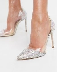 Steve Madden Marjorie heeled pointed court shoe in rhinestone and clear ~ shimmering stiletto heel courts