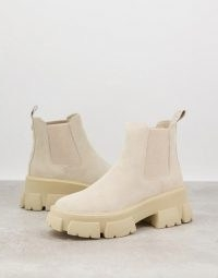 Steve Madden Tusk chunky sole boots in beige suede