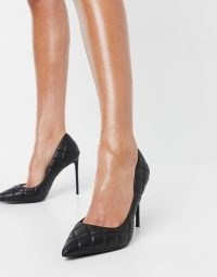Steve Madden Vala heeled pointed court shoe in black quilt ~ black quilted courts ~ stiletto heels