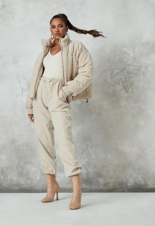 MISSGUIDED stone co ord peached drawstring joggers | cuffed jogging bottoms ~ zara mcdermott x missguided edit - flipped