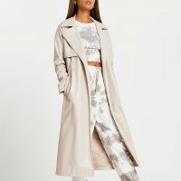 River Island Stone faux leather trench coat | luxe style open coats