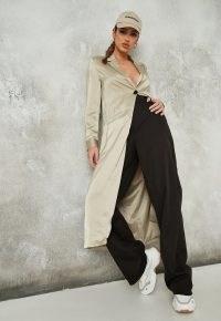 MISSGUIDED stone satin maxi duster jacket ~ longline slinky jackets ~ fluid coats