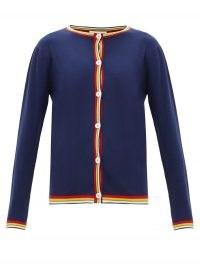 MARNI Navy stripe-edge wool cardigan