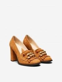 SELECTED FEMME SUEDE TASSEL PUMPS   brown block heel courts   vintage style shoes   retro footwear