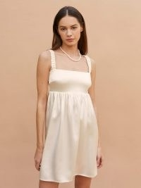 REFORMATION Sunshine Dress ~ short ivory ruched strap wedding dresses ~ beautiful alternatives to a bridal gown