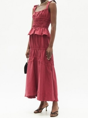 BROCK COLLECTION Susanna drawstring-tie linen maxi skirt ~ red gathered detail skirts - flipped