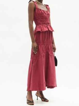 BROCK COLLECTION Susanna drawstring-tie linen maxi skirt ~ red gathered detail skirts