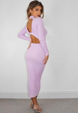 MISSGUIDED tall mauve rib knit tie back midaxi dress